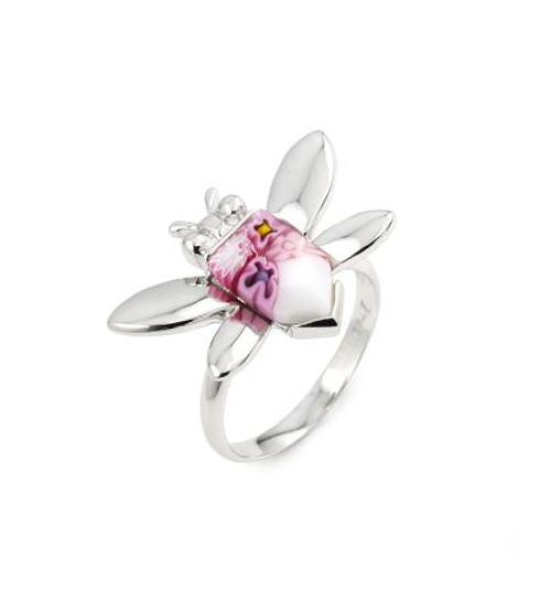 MURANO MILLEFIORI PINK FACETED BEE RING