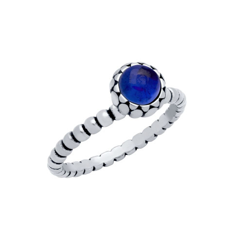 STERLING SILVER BEAD DESIGN RING WITH 5MM CABOCHON SAPPHIRE
