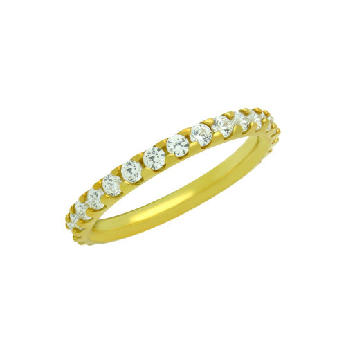 GOLD PLATED ETERNITY WHITE CZ STACKABLE BAND RING