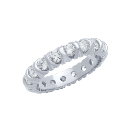 RHODIUM PLATED XO ETERNITY STYLE CZ BAND RING