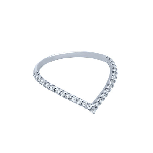 "RHODIUM PLATED ETERNITY ""V"" CHEVRON STACKABLE CZ BAND"