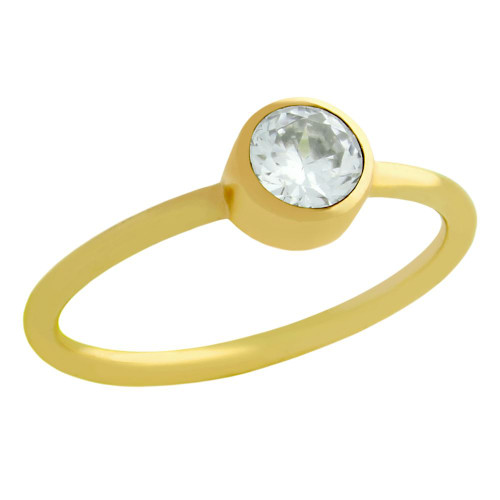 GOLD PLATED 5MM SWAROVSKI CLEAR CZ BEZEL SET STACKABLE BAND RING