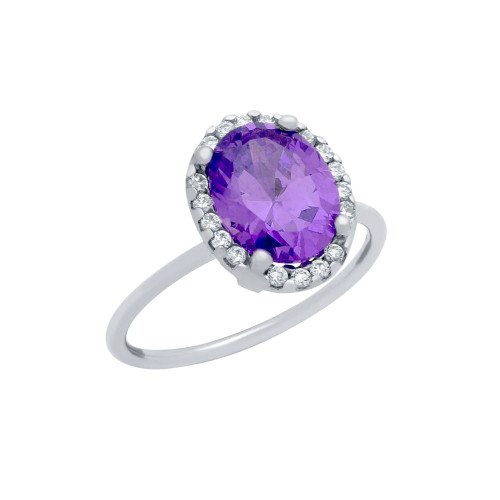 RHODIUM PLATED PURPLE OVAL CZ RING WITH SURROUNDING CLEAR CZ STONES