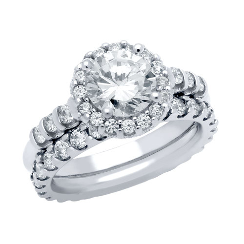 RHODIUM PLATED ROUND CZ BEADED ARCH RING AND ETERNITY BAND WEDDING SET