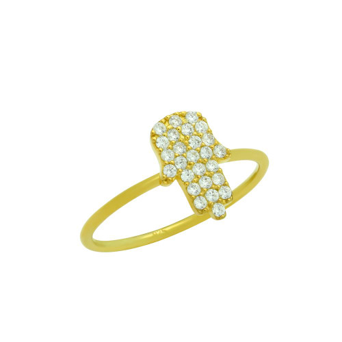 GOLD PLATED CZ PAVE HAMSA STACKABLE RING