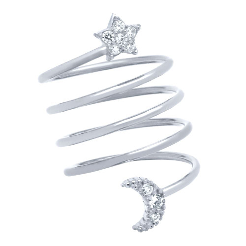 "RHODIUM PLATED SPIRAL ""SPRING RING"" WITH CZ PAVE MOON AND STAR"