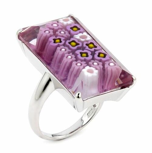 MURANO MILLEFIORI FACETED PINK 16x27MM RECTANGULAR SHAPE RING