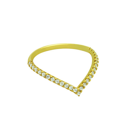 "GOLD PLATED ETERNITY ""V"" CHEVRON STACKABLE CZ BAND"