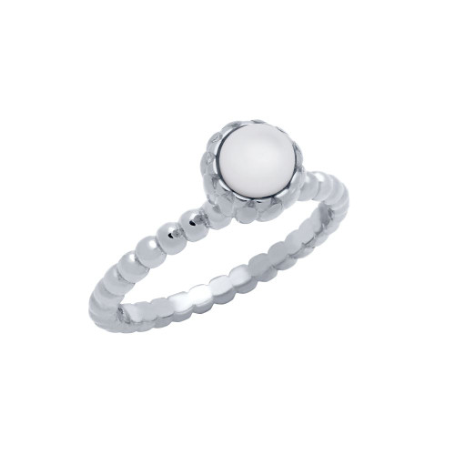 RHODIUM PLATED BEAD DESIGN RING WITH 5MM CABOCHON MOTHER OF PEARL