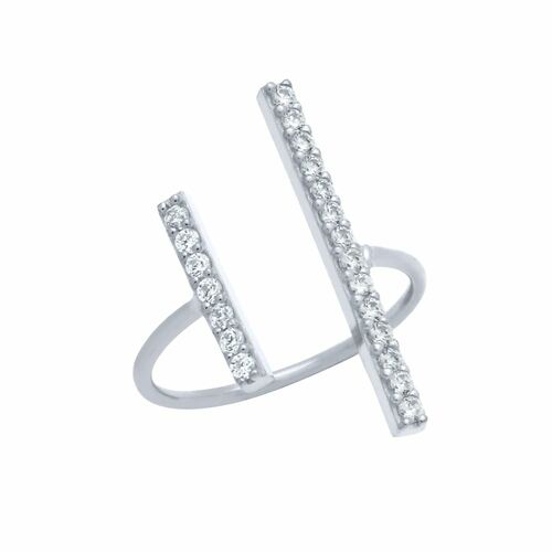 RHODIUM PLATED DOUBLE CZ BAR ADJUSTABLE RING