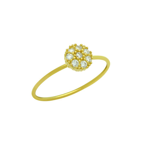GOLD PLATED PAVE CLEAR CZ ROUND STACKABLE RING