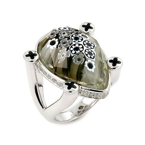 EXQUISITE COLLECTION FACETED BLACK AND WHITE MURANO GLASS DROP RING WITH HIGH QUALITY CZ MICROSETTING