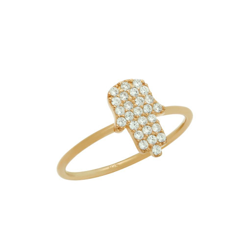 ROSE GOLD PLATED CZ PAVE HAMSA STACKABLE RING