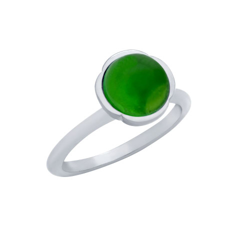 RHODIUM PLATED RING WITH 8MM CABOCHON EMERALD