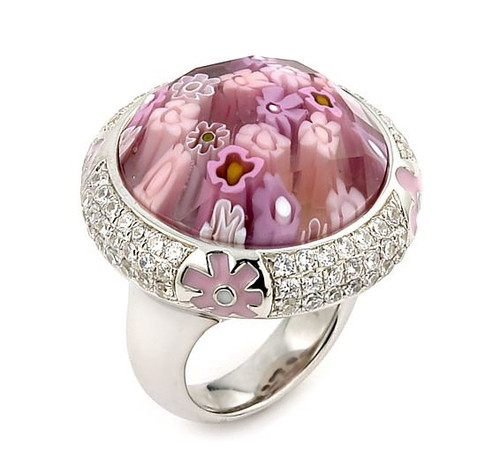 EXQUISITE COLLECTION FACETED PINK MURANO GLASS ROUND RING WITH HIGH QUALITY CZ MICROSETTING
