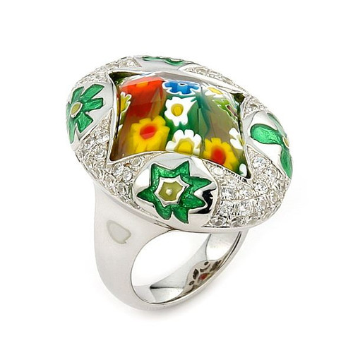 EXQUISITE COLLECTION FACETED MULTICOLOR MURANO GLASS MARQUISE RING WITH HIGH QUALITY CZ MICROSETTING