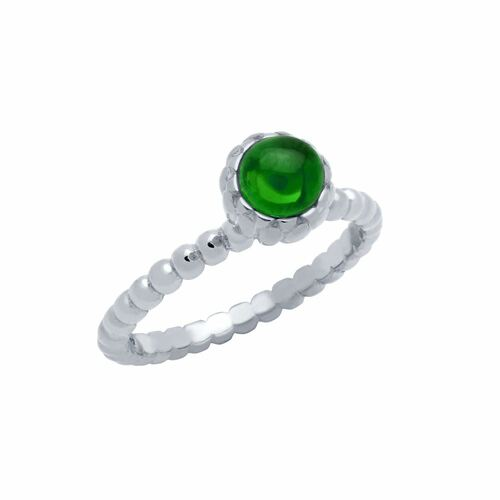 RHODIUM PLATED BEAD DESIGN RING WITH 5MM CABOCHON EMERALD