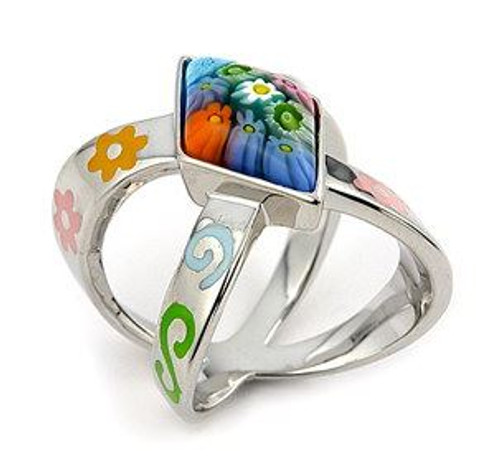 MULTICOLOR DIAMOND SHAPE MURANO MILLEFIORI RING