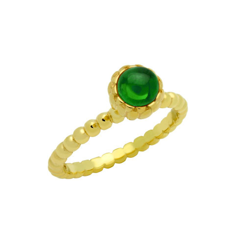GOLD PLATED BEAD DESIGN RING WITH 5MM CABOCHON EMERALD