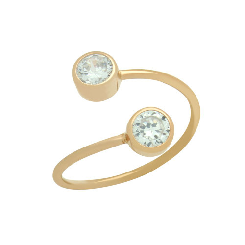 ROSE GOLD PLATED ADJUSTABLE CROSSOVER RING WITH DUAL 5MM CZ