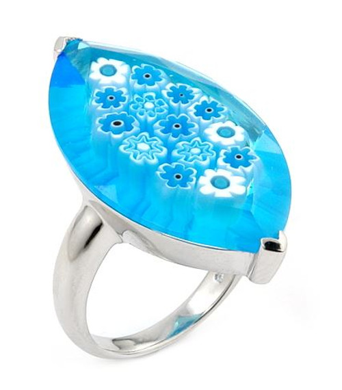 MURANO MILLEFIORI FACETED LIGHT BLUE 18X32MM MARQUISE SHAPE RING