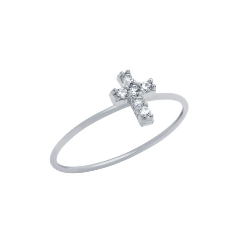 RHODIUM PLATED PAVE CLEAR CZ CROSS STACKABLE RING
