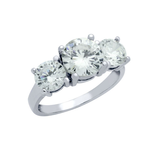 3 STONE SOLITAIRE CZ RING