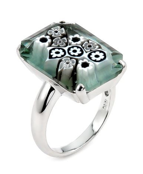 MURANO MILLEFIORI FACETED BLACK AND WHITE 14X20MM SMALL RECTANGULAR SHAPE RING