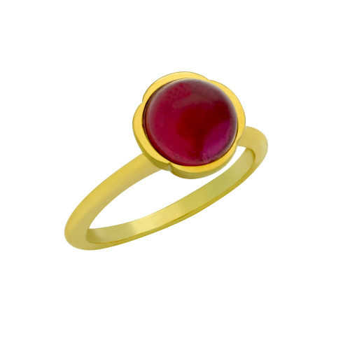 GOLD PLATED RING WITH 8MM CABOCHON RUBY