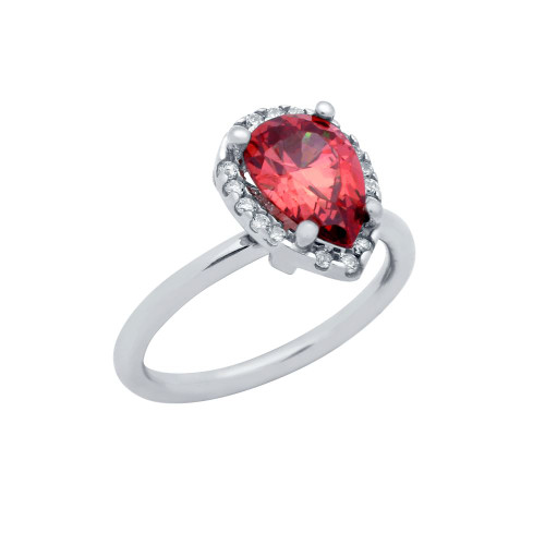 RHODIUM PLATED RED TEARDROP CZ RING WITH SURROUNDING CLEAR CZ STONES
