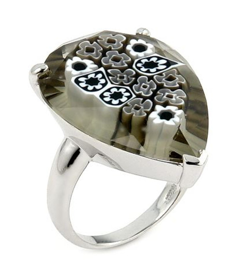 MURANO MILLEFIORI FACETED BLACK AND WHITE 20X28MM PEAR SHAPE RING