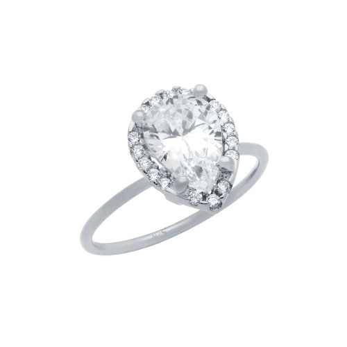 RHODIUM PLATED 7X10MM CLEAR TEARDROP CZ RING WITH SURROUNDING CZ STONES