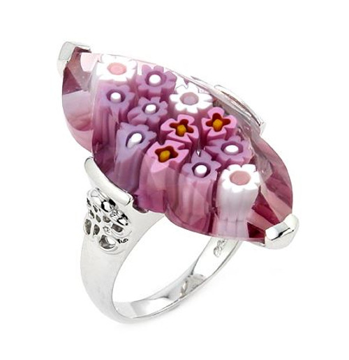 MURANO MILLEFIORI PINK FACETED MARQUISE RING