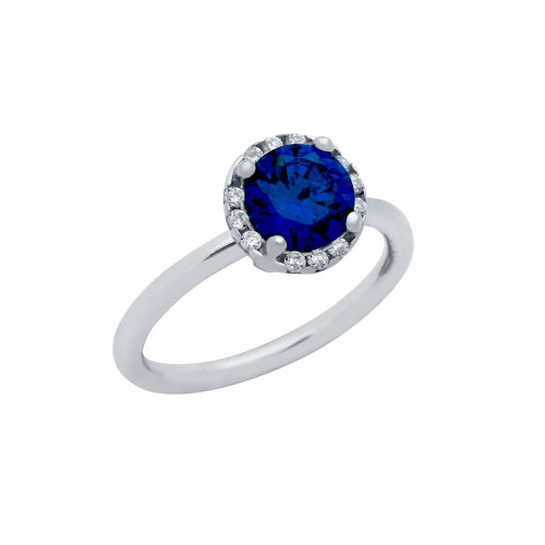 RHODIUM PLATED BLUE ROUND CZ RING WITH SURROUNDING CLEAR CZ STONES