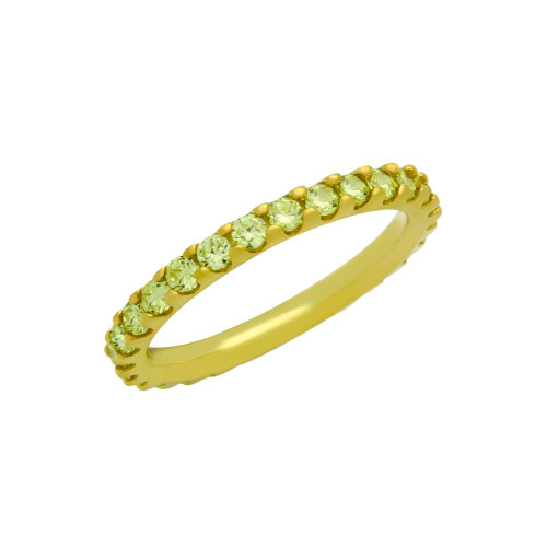 GOLD PLATED ETERNITY YELLOW CZ STACKABLE BAND RING