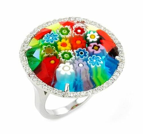 MURANO MILLEFIORI MULTICOLOR FACETED ROUND RING WITH CZ ACCENTS