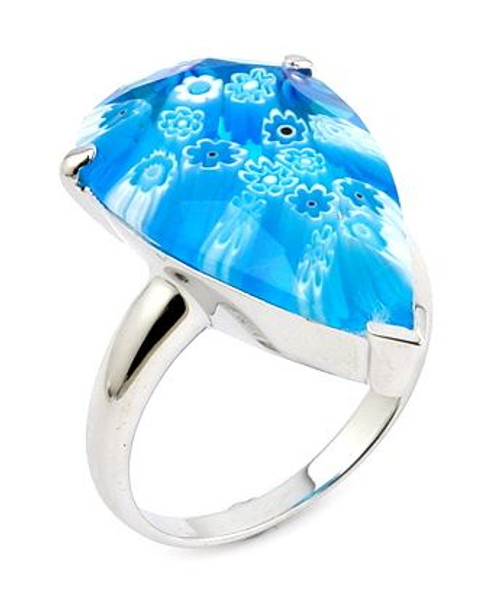MURANO MILLEFIORI FACETED LIGHT BLUE 14x22MM DROP SHAPE RING