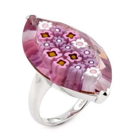 MURANO MILLEFIORI FACETED PINK 20x35MM LARGE MARQUISE SHAPE RING