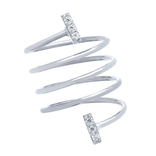 "RHODIUM PLATED SPIRAL ""SPRING RING"" WITH CZ PAVE BARS"