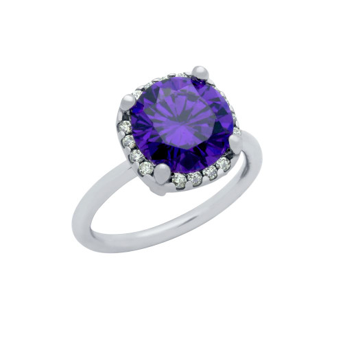 RHODIUM PLATED PURPLE 8MM ROUND CZ RING WITH SQUARE DESIGN SURROUNDING CLEAR CZ STONES