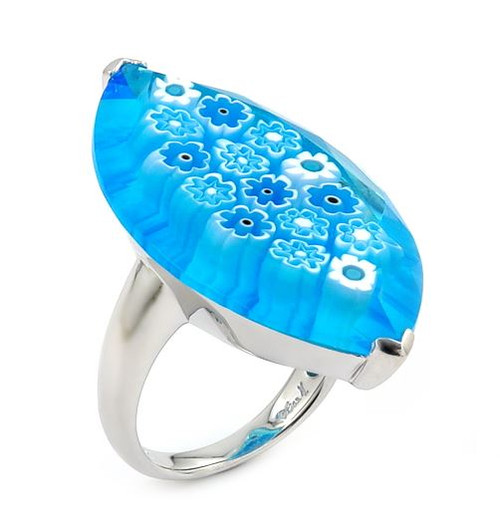 MURANO MILLEFIORI FACETED LIGHT BLUE 20x35MM LARGE MARQUISE SHAPE RING