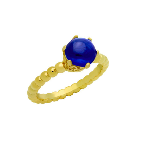 GOLD PLATED BEAD DESIGN RING WITH 5MM PRONG SET CABOCHON SAPPHIRE