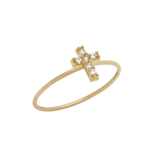 ROSE GOLD PLATED PAVE CLEAR CZ CROSS STACKABLE RING