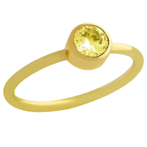 GOLD PLATED 5MM YELLOW SWAROVSKI CZ STACKABLE BAND RING