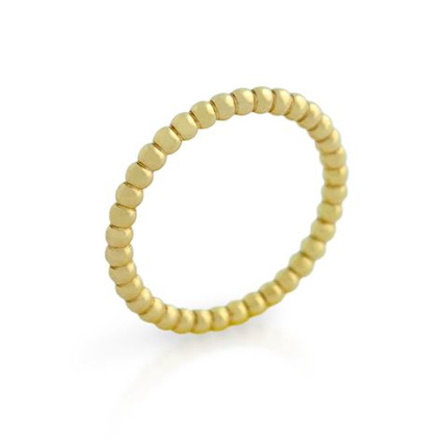 GOLD PLATED BEAD DESIGN STACKABLE BAND (SZ 5-8)