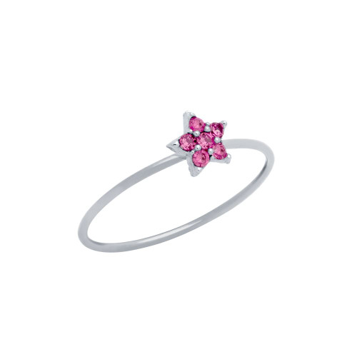 PAVE PINK CZ STAR STACKABLE RING