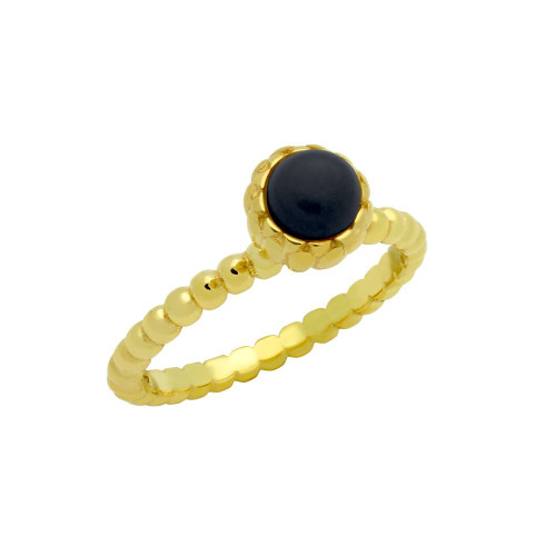 GOLD PLATED BEAD DESIGN RING WITH 5MM CABOCHON ONYX