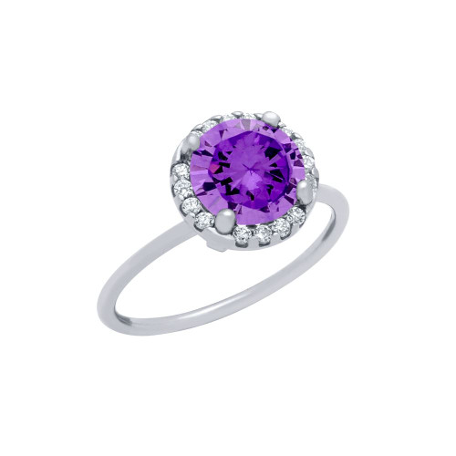 RHODIUM PLATED PURPLE ROUND CZ RING WITH HALO SURROUNDING CLEAR CZ STONES