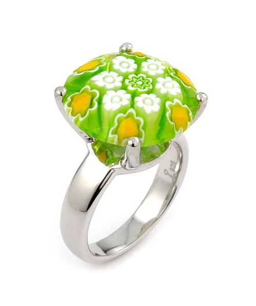 EXQUISITE COLLECTION FACETED GREEN MURANO GLASS SMALL ROUND RING