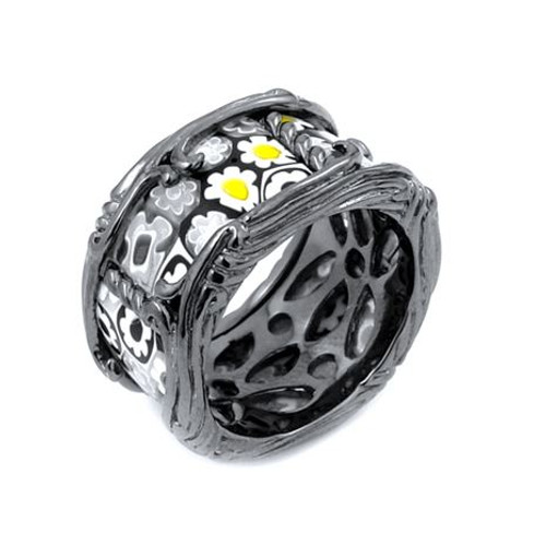 MURANO MILLEFIORI BLACK AND WHITE SEGMENTED BAND RING WITH BLACK RHODIUM PLATED FINISH